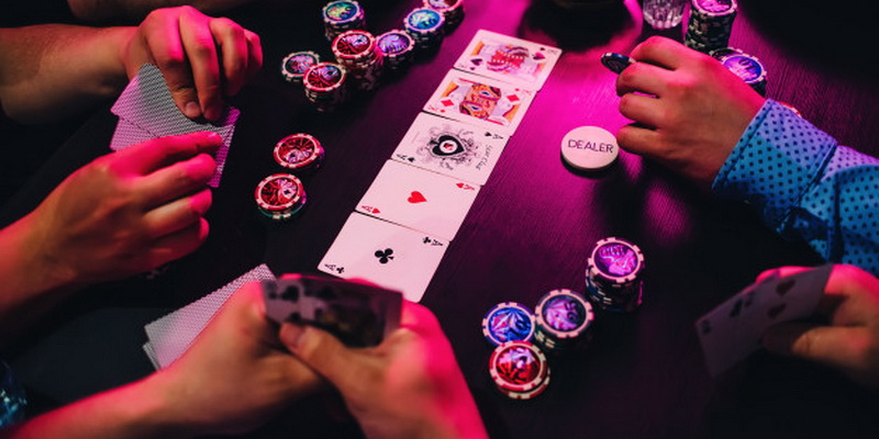 Poker chips and community cards