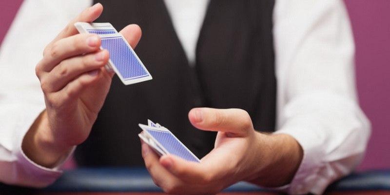 Deck cards being shuffled